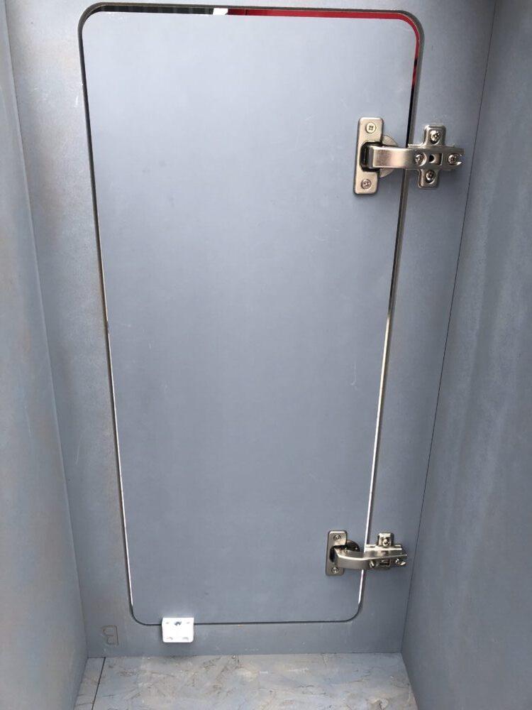 Refit hinges. Just door, and add a stop block.