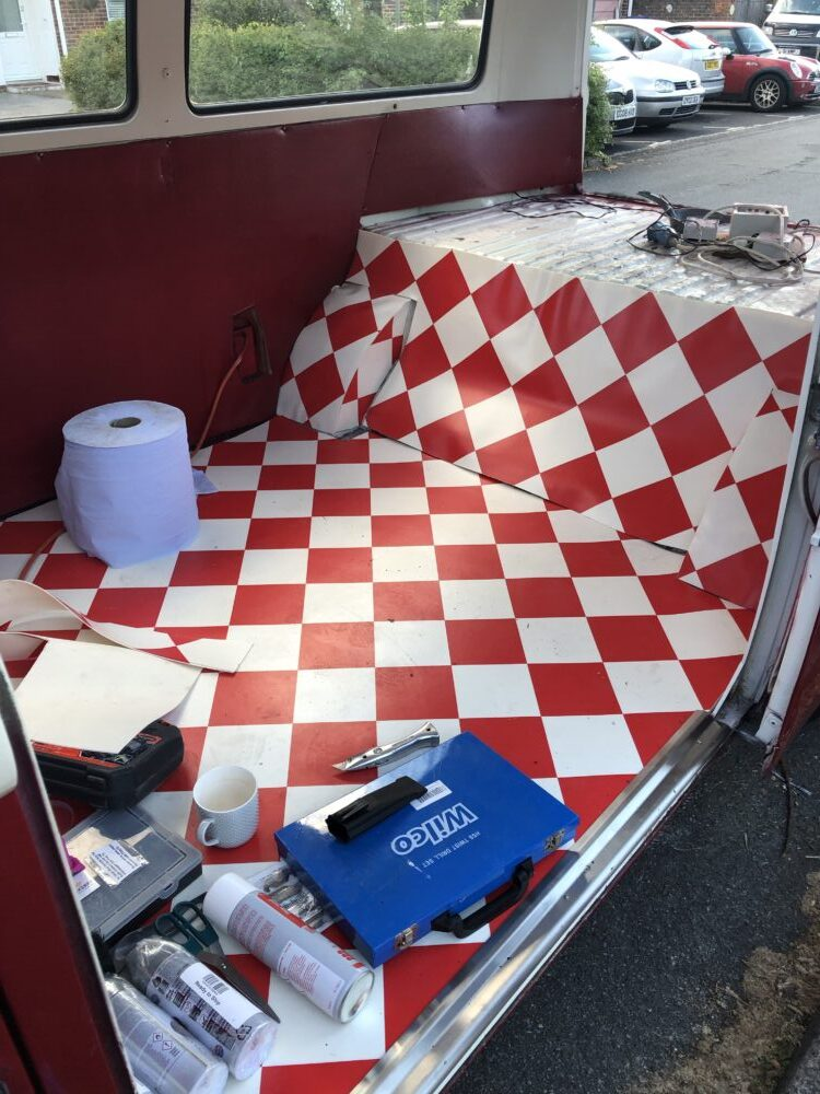 VW T2 Camper inside centre floor covered