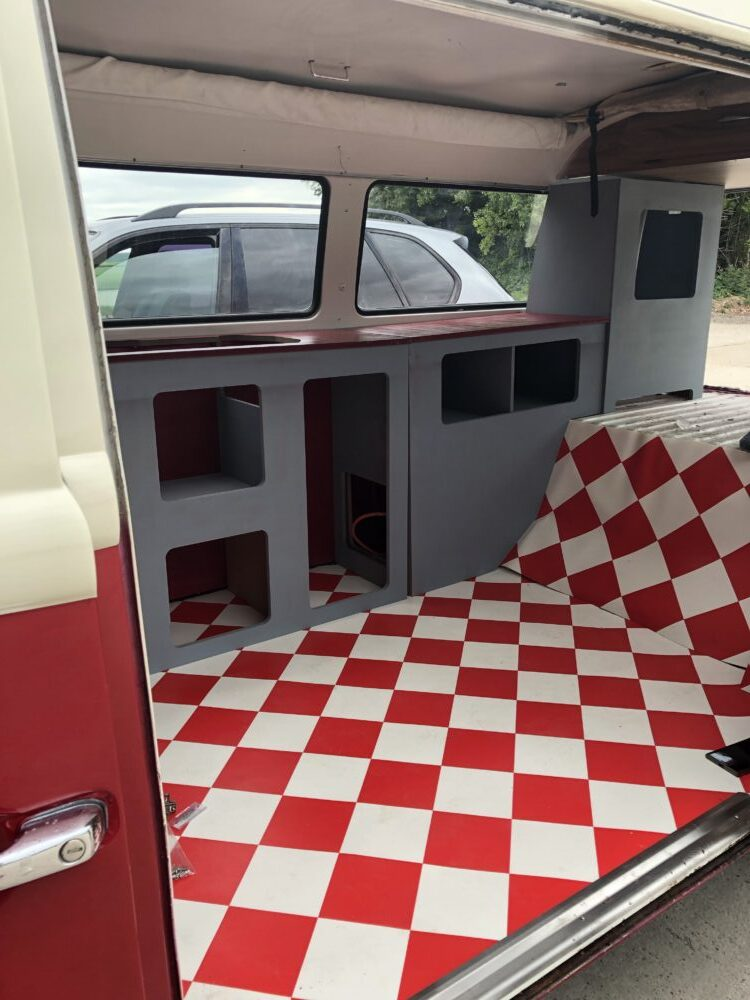 VW t2 camper primer on cupboards