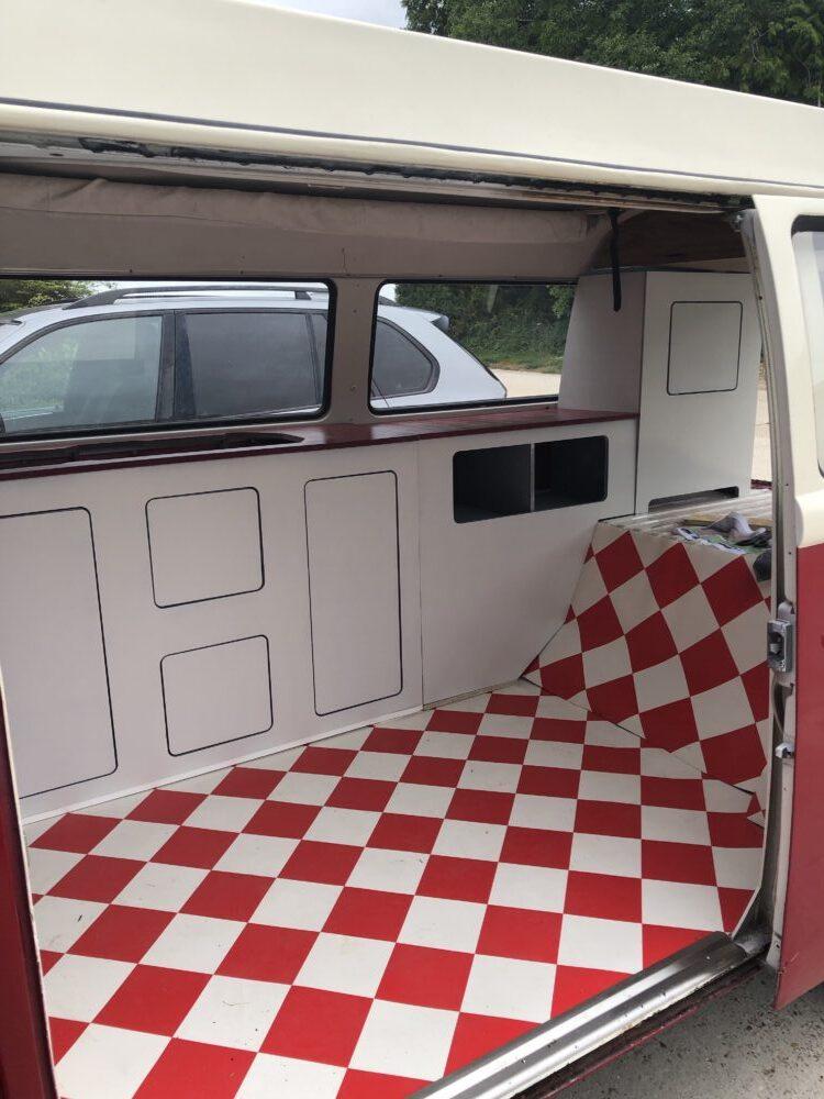 Place in van.