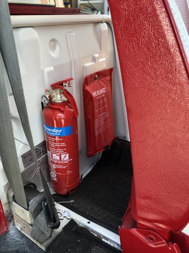 VW T2 Camper fire extinguisher and fire blanket