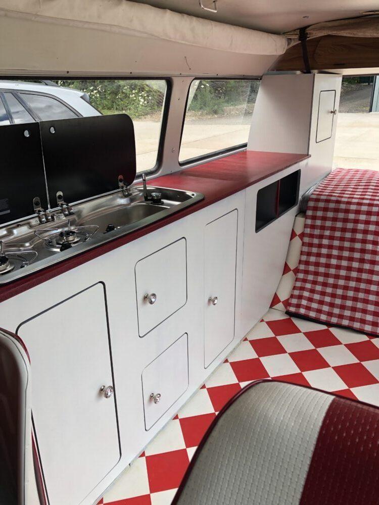 VW T2 camper. Cupboards in place